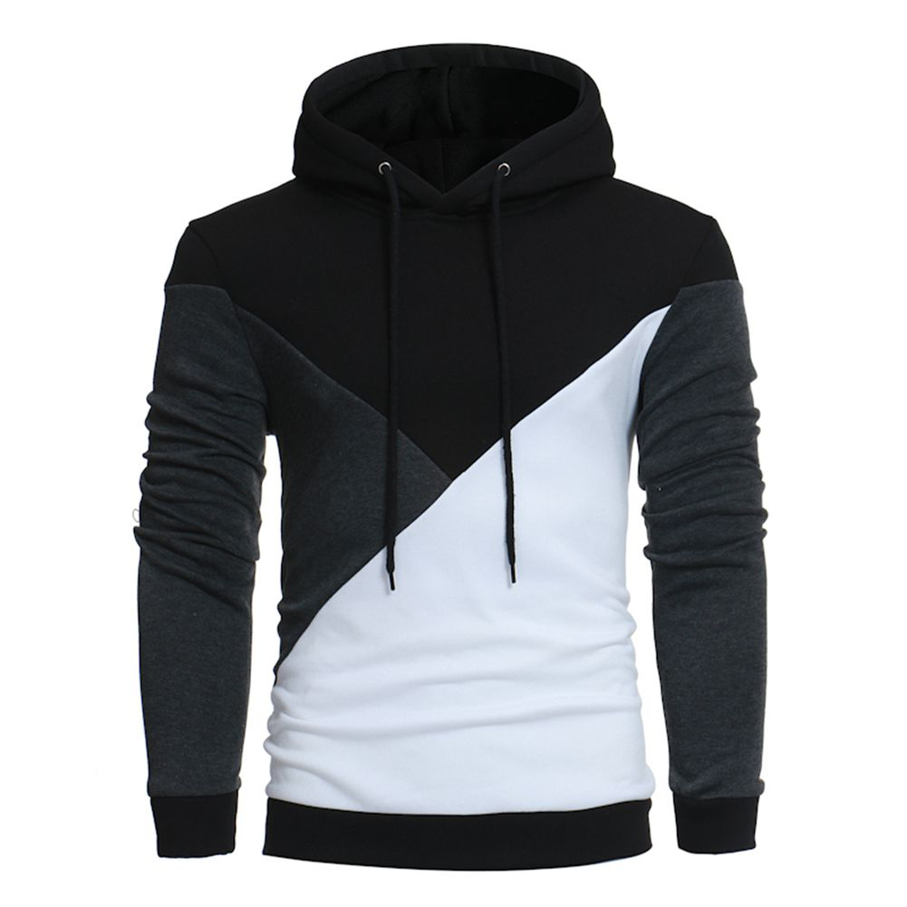 NEW Male Autumn Winter Slim Hoodies Casual Color Stitching Long Sleeve Hooded Sweatshirt Fashion Design Hoodies