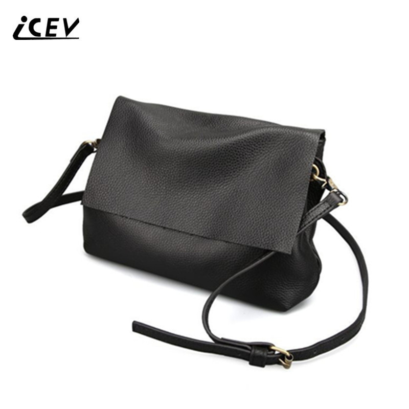ICEV New Brands Simple Cow Leather Crossbody Bags for Women Messenger Bags High Quality Ladies Bag