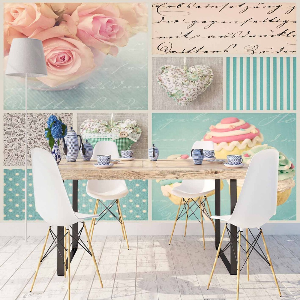 Else Vintage Pink Roses Hearts Blue Lines Dots 3d Print Photo Cleanable Fabric Mural Home Decor Kitchen Background Wallpaper