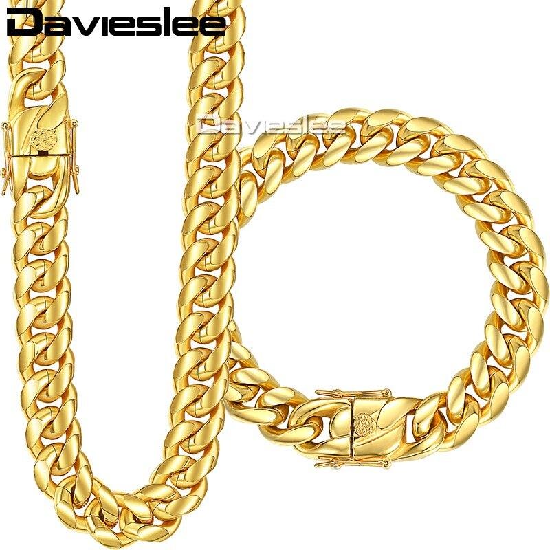 Davieslee Womens Mens Jewelry Set Miami Curb Cuban Link 316L Stainless Steel Hip Hop Gold Silver Tone 8/12/14mm LHSM01 8mm 10mm 12mm 14mm stainless steel miami curb cuban bracelet mens hip hop thick gold filled cuban link heavy bracelet 23cm