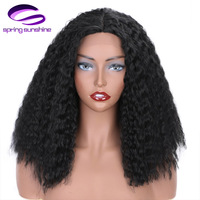Synthetic Lace Front Wigs Afro Kinky Curly Natural Black Medium Length High Temperature Fiber Black/White Women's Wig