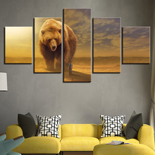 Abstract Pictures Modern Frames 5 Panel Animal Brown Bear And Man Paintings Wall Art Landscape Living Room Decorative