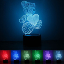 USB Powered Love Bear 3D Night Light LED Desk Lamp Touch Key Decoration Lights Use Home Hotel Party Holiday