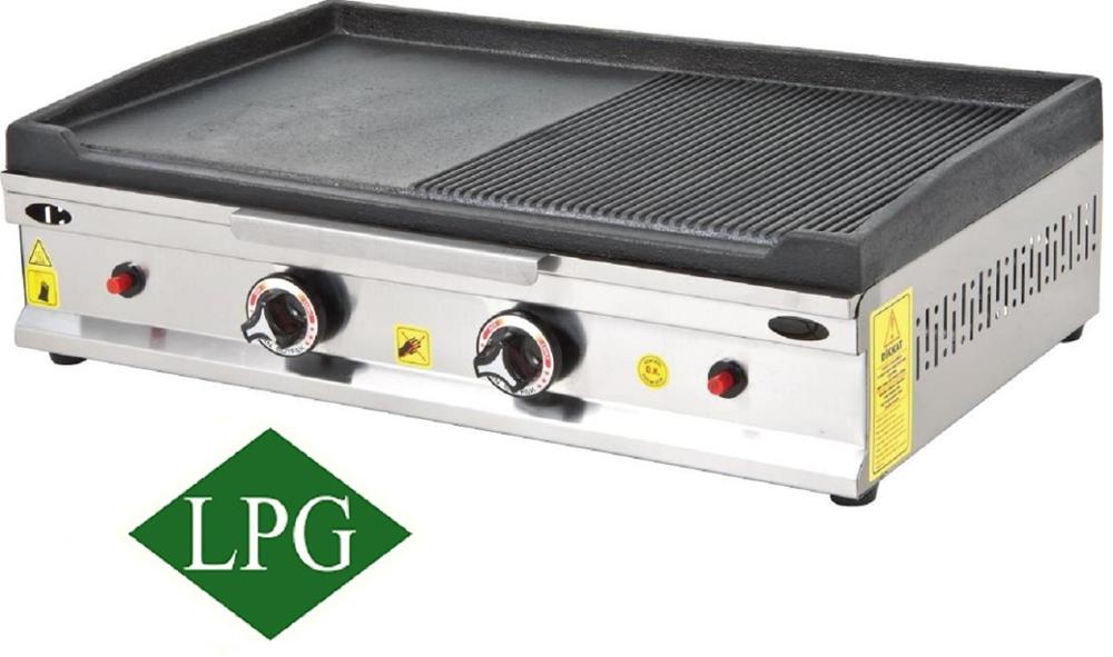 28 '' 70 cm Propane Gas LPG Commercial GROOVED and Flat CAST IRON Surface Countertop Cooker Flat Grill Hot Plate Cooktop Griddle