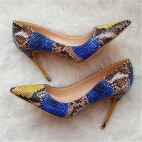 Free shipping fashion women Pumps Blue Multi snake Pointy toe high heels shoes size33 43 12cm 10cm 8cm party shoes