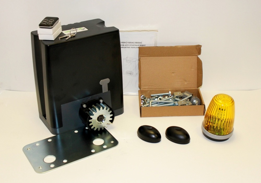 Drive kit DKC800 with mounting plate, photocells and warning lightDrive kit DKC800 with mounting plate, photocells and warning light