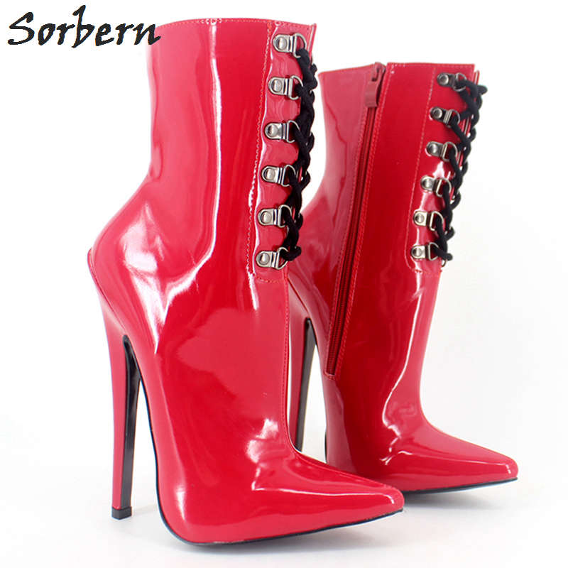 Sorbern 18CM Women Boots Patent Leather Custom Color Pointed 2018 Party Boots Cosplay Gay Botines Mujer Ankle Boots For Women