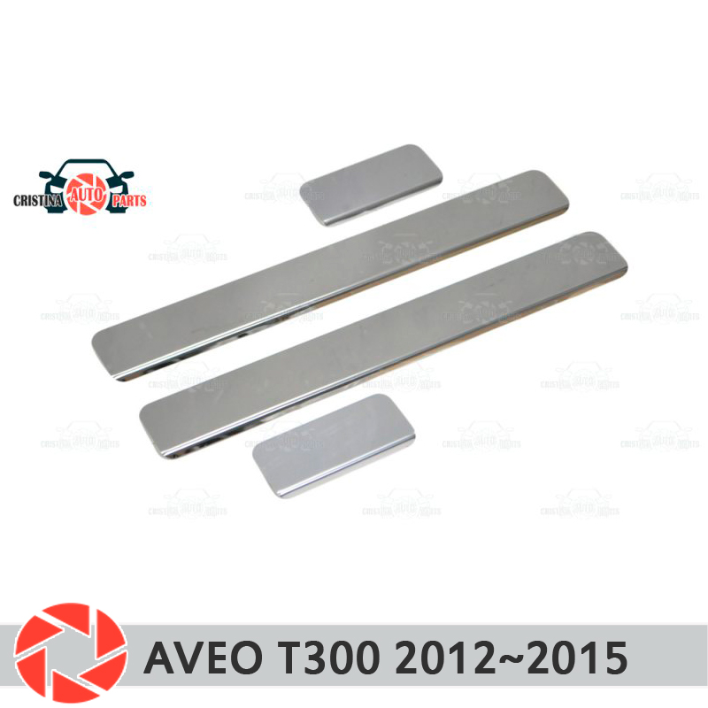 Door sills for Chevrolet Aveo T300 2012~2015 step plate inner trim accessories protection scuff car styling decoration clear cool custom made led door sill scuff plate guard protector trim for bmw m3
