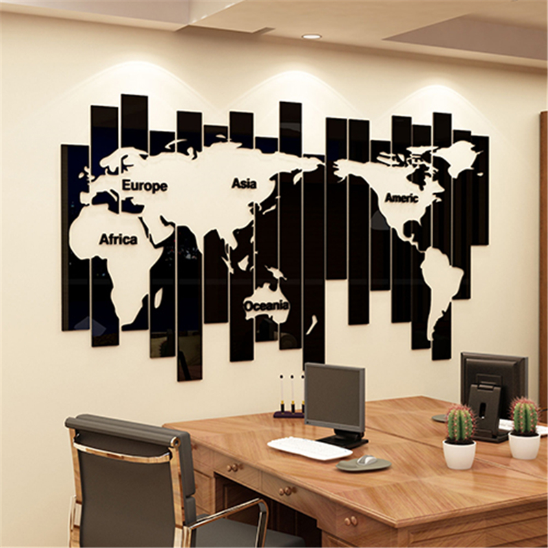 Creative World map bricolage 3D stéréo acrylique stickers muraux moderne décor à la maison salon société bureau décoration mur Art autocollant
