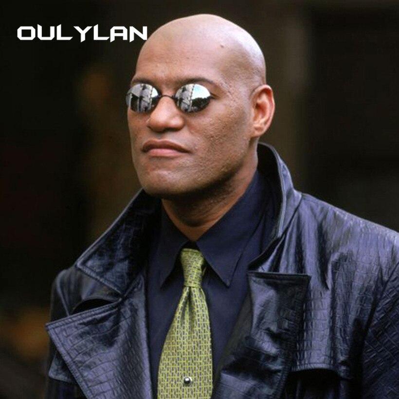 Oulylan Matrix Morpheus Round Rimless Sunglasses Men Classic Clamp Nose Sun Glasses Mens Mini Frameless Brand Design Glasses