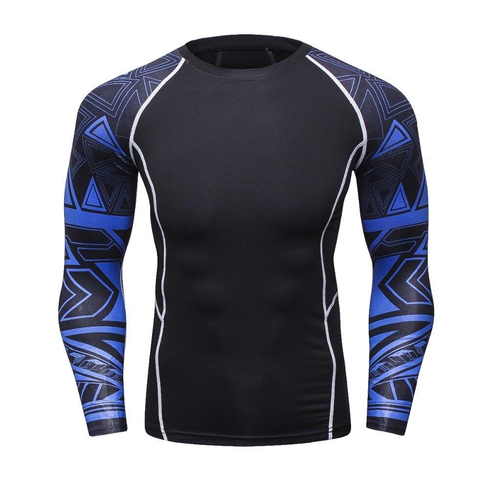 Men Skinny Tights Compression 3D T Shirt Long Sleeve T-shirt Bodybuilding Tops Full Print Jersey MMA Rashguard Fitness Clothing