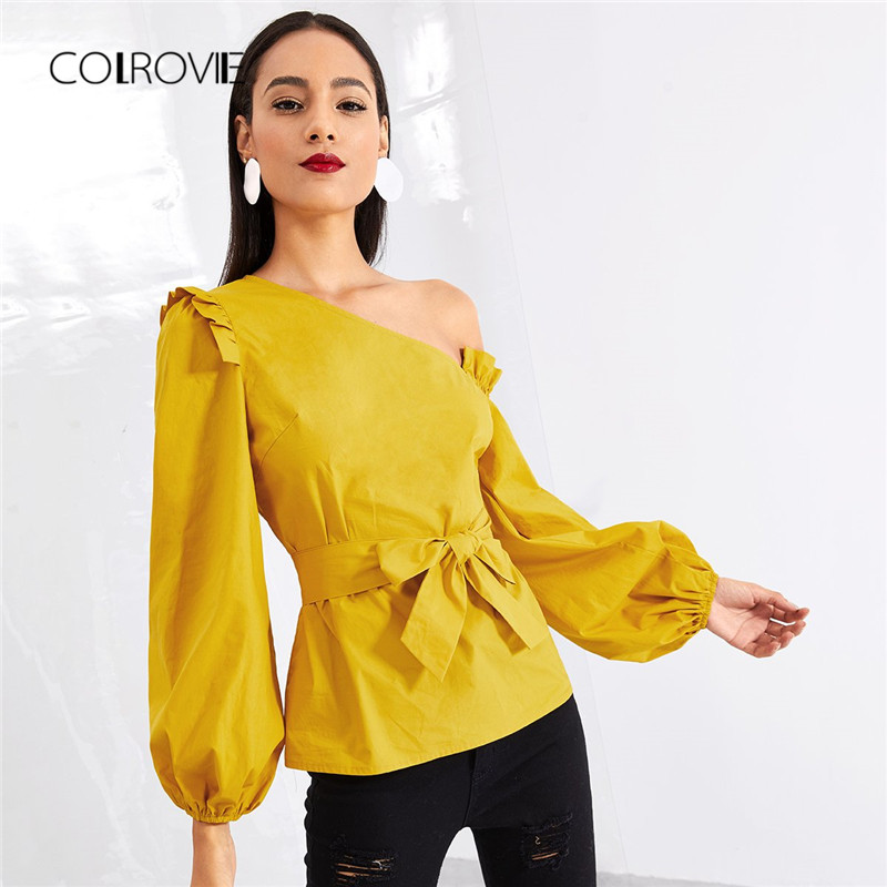 COLROVIE Ginger Asymmetric Shoulder Bishop Sleeve Ruffle Sexy   Blouse     Shirt   Autumn Cotton Belted   Blouse   Womens Tops And   Blouses