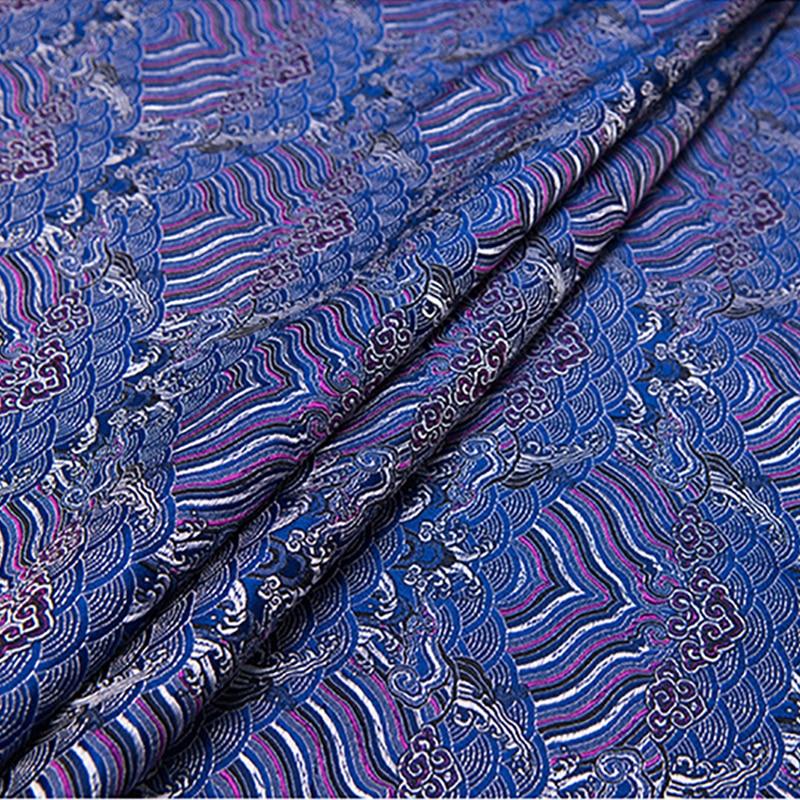 100x75cm new arrival brocade wave deep blue fabric for patchwork felt tissue telas women dress bed sheet children cloth coat