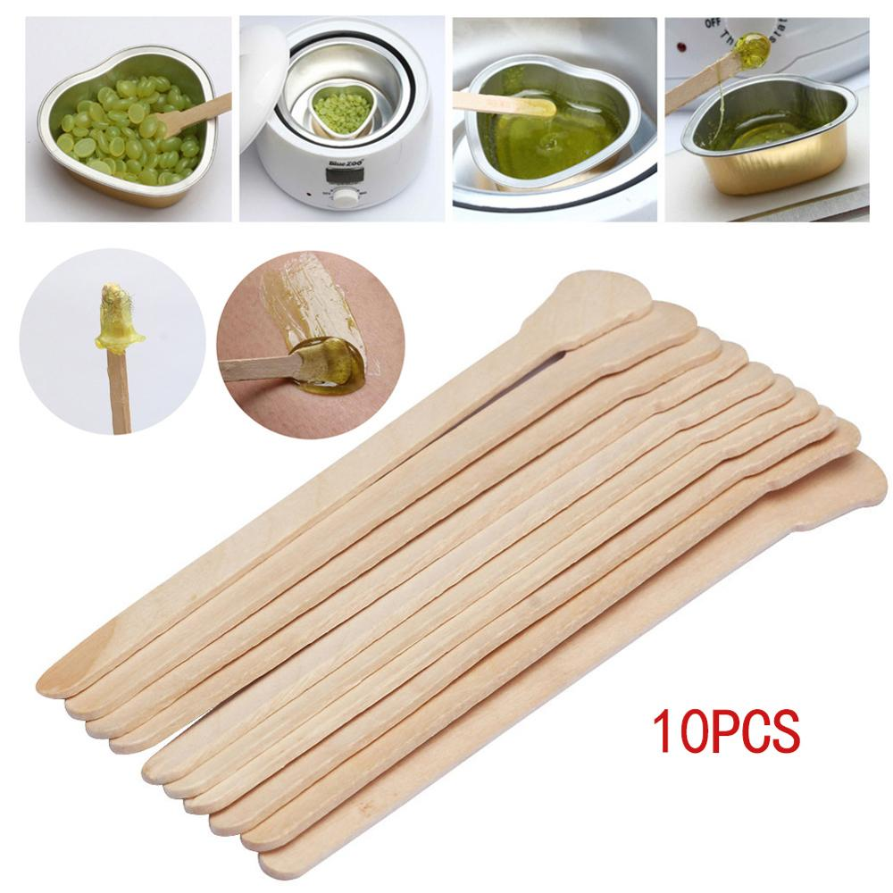 10pcs Body Hair Removal Sticks Wax Waxing Disposable Sticks Beauty Toiletry Kits Wood Tongue Depressor Spatula Bamboo Sticks