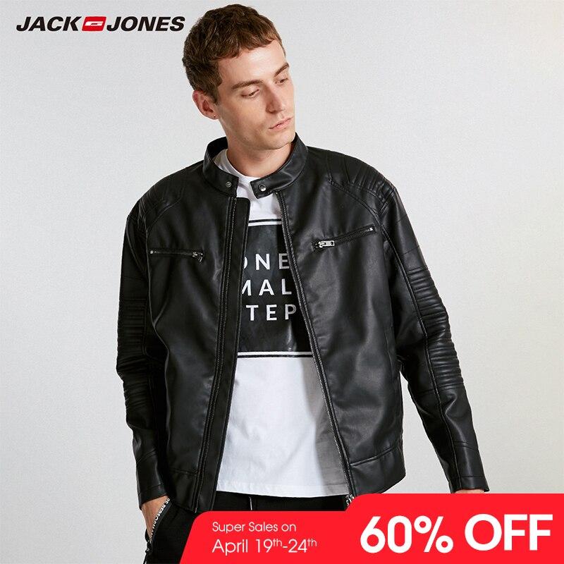 JackJones Hommes de Printemps décontracté veste pu manteau slim décontracté Hommes de Marque Vêtements Mode Manteaux Homme Biker Survêtement C | 218321558