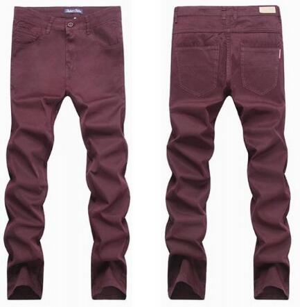 red blue black plus size large straight cotton Elasticity jeans casual pants loose long trousers military men big size 28-48
