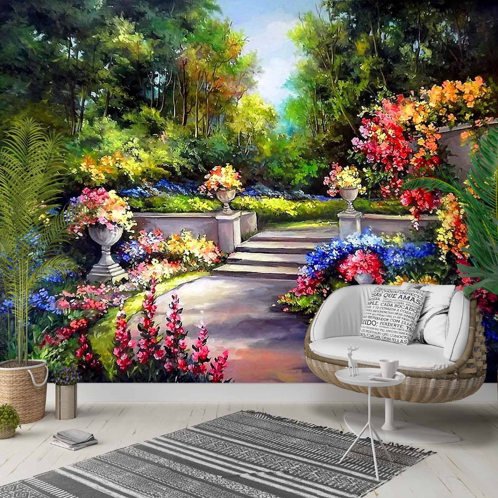 Else Green Red Yellow Blue Garden Flowers 3d Photo Cleanable Fabric Mural Home Decor Living Room Bedroom Background Wallpaper