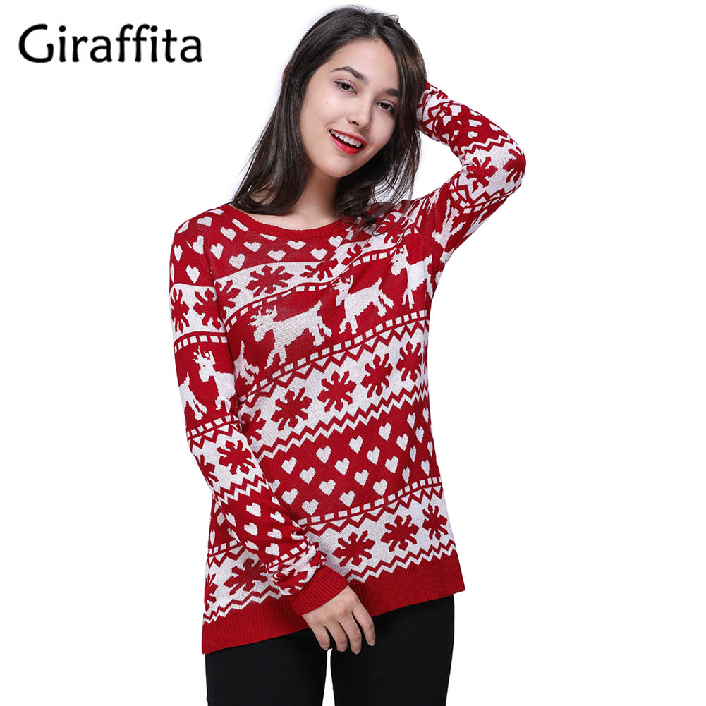 46a7efb70b Women Christmas Knitted Red Sweater Deer Printed Pullover Sweater Soft Pull  Femme Autumn Winter Warm Knitting Sweater-in Pullovers from Women s Clothing  ...