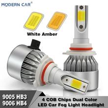 MODERN CAR 9005 9006 Dual Color White 6500k Headlight 8000lm White/Amber 3000K 6000K LED Fog Light Bulbs Cob 9005/HB3 9006/HB4
