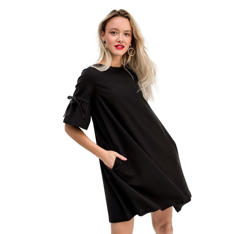 Dresses dress befree for female  half sleeve women clothes apparel  casual spring 1811347569-50 TmallFS slit sleeve asymmetrical plain chiffon dress