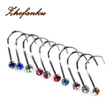 10Pcs/set 2017 New Fashion Mixd Color Rhinestone Hook Bone Bar Pin Piercing Jewelry Nose Studs Rings