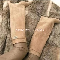 New Design Beige Suede Shark Lock Fold Over Thigh High Belted Boots Pointed Toe Covered Wedge Heel Winter Boots Women Plus Size