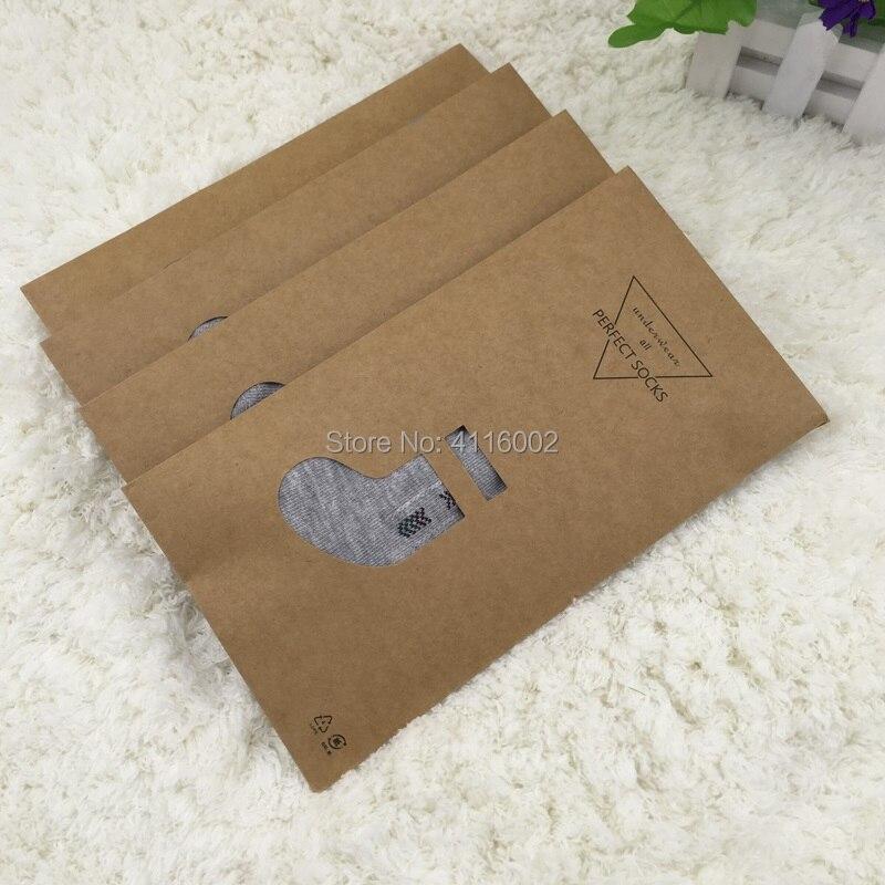 500 pcs/lot 11.8*22 cm Brun Boutique Kraft Papier D'emballage Sac pour Universel Chaussettes/Bas Vente Emballage Kraft boîte de papier dans Cadeau Sacs et Emballage Fournitures de Maison & Jardin