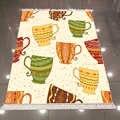 Más verde amarillo naranja étnico rojo tazas de té crema 3d microfibra antideslizante espalda lavable decorativo alfombra de área de cocina