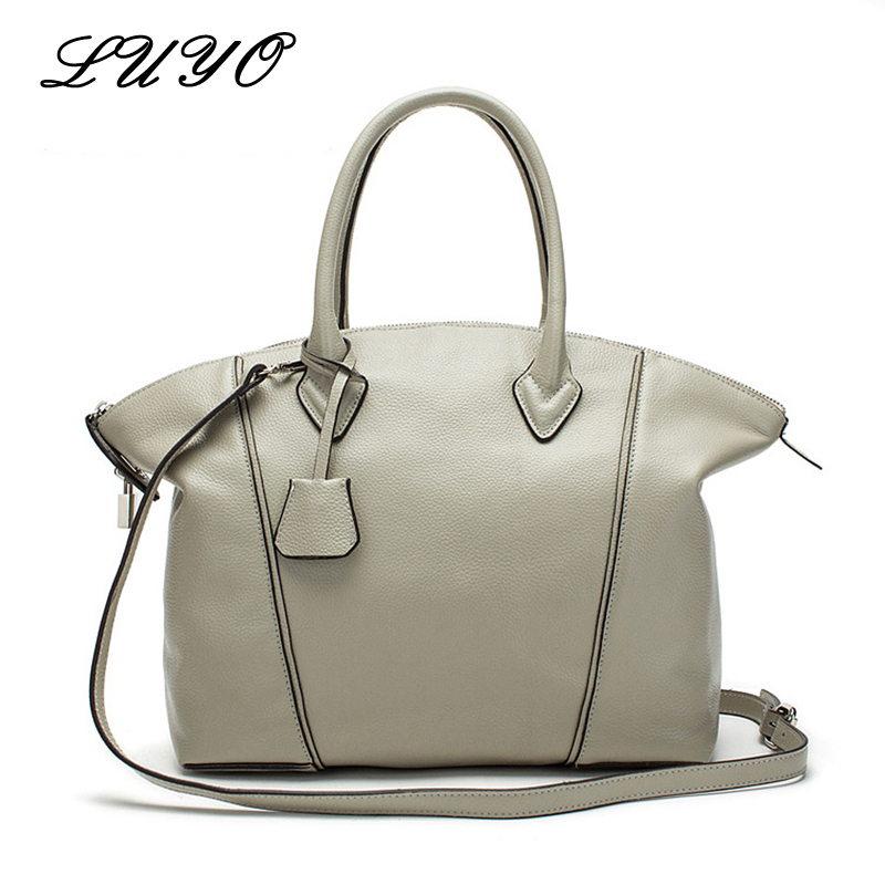 LUYO Fashion Famous Brands Genuine Leather Hobos Large Women Shoulder Bag Luxury Handbags Women Bags Designer Sac A Main Tote elunico 2018 new large capacity cowhide tote bags handbags women famous brands genuine leather messenger shoulder bag sac a main