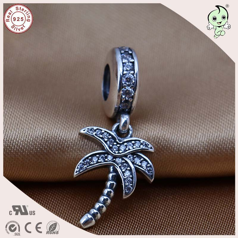 Popular Silver Tree Design Jewelry Summer Style 925 Real Silver Coconut Tree Charm Pendant Fitting European Famous Snake Chain