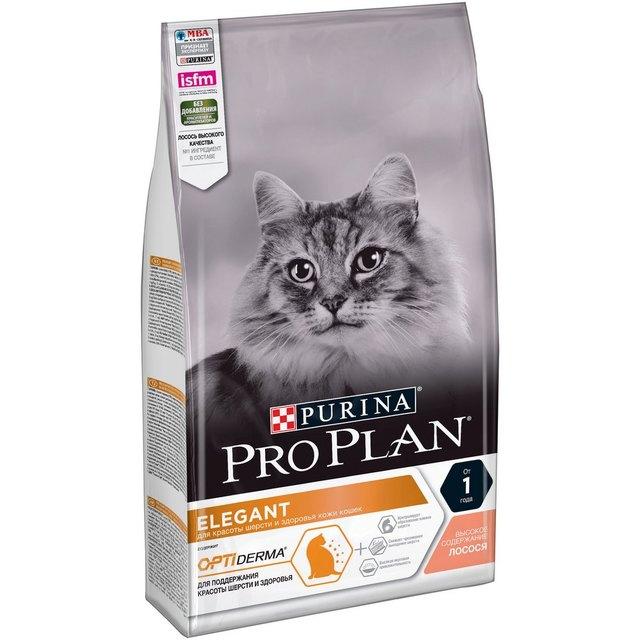 Pro Plan Elegant Adult корм для кошек для поддержания красоты шерсти и здоровья кожи, Лосось, 1,5 кг.