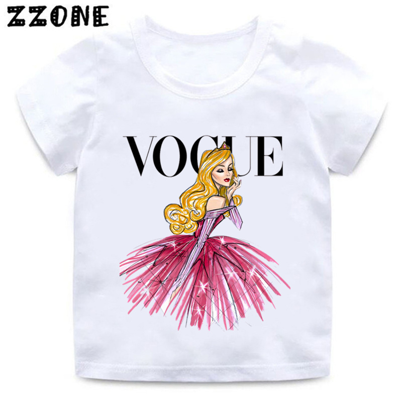 VOGUE Princess Print Girls T shirt Cartoon Funny Casual Kids Clothes Summer Harajuku White Baby T-shirt,HKP5209 женская футболка other 2015 3d loose batwing harajuku tshirt t a50