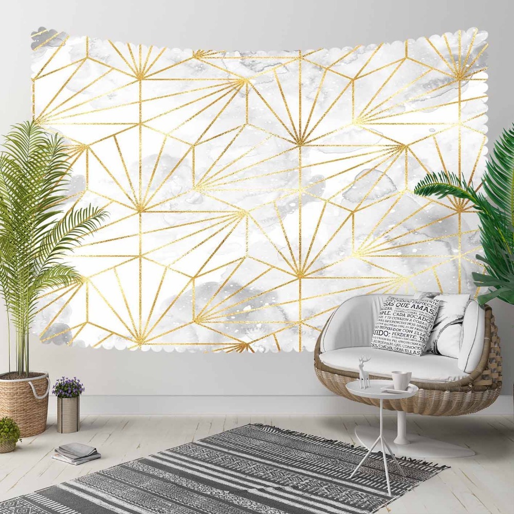 Else Gray White Clouds Golden Yellow Stripes Lines 3D Print Decorative Hippi Bohemian Wall Hanging Landscape Tapestry Wall Art