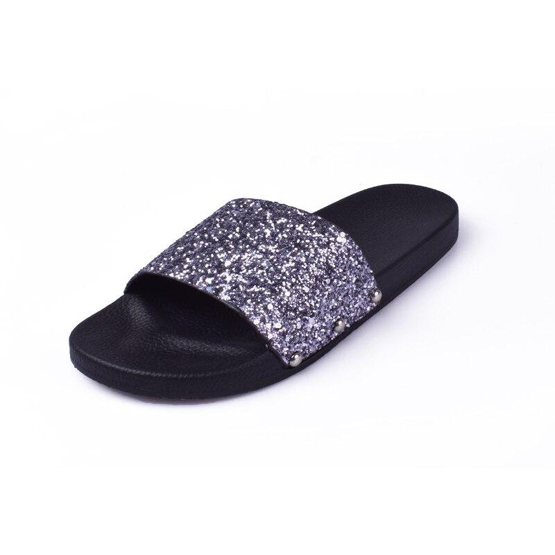 e900b09c27d Sandals NEW Women s Rhinestone Glitter Crystal Slide Footbed Platform  Sandal Slippers