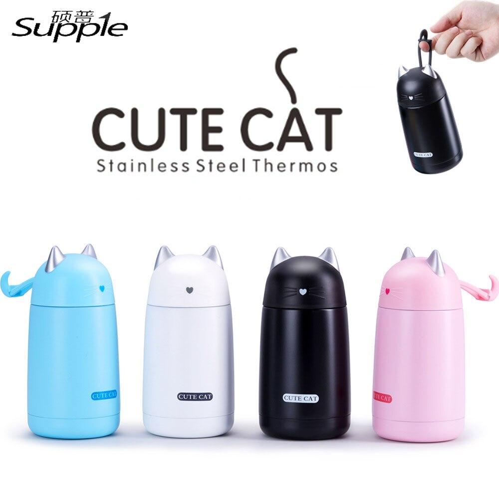 330 ml Edelstahl Nette Katze Thermos Reisen Isolierung Wasserflasche Drink Büro Tasse Vakuum Flaschen dicht Kaffee becher