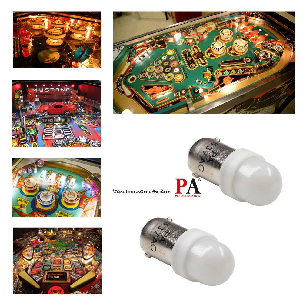 PA LED 50PCS x #1893 #44 #47 #1847 BA9S 2SMD 2835 LED Pinball Machine Dashboard Light Bulb 8 Color 6.3V Frosted