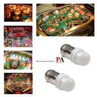 PA LED 50PCS x #1893 #44 #47 #1847 BA9S 2SMD 2835 LED Pinball Machine Dashboard Light Bulb 8 Color 6.3V Frosted