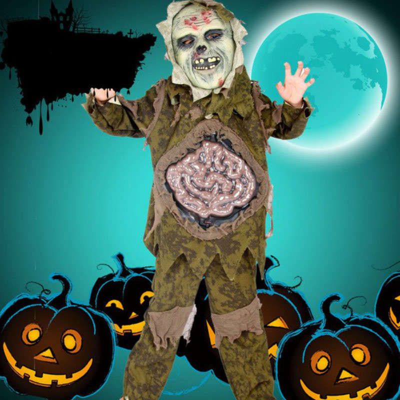 Halloween Costumes for Kids Cosplay Zombie Scary Intestines Clothes Stage Outfits for Children Set Horror Night Zombie Clothing