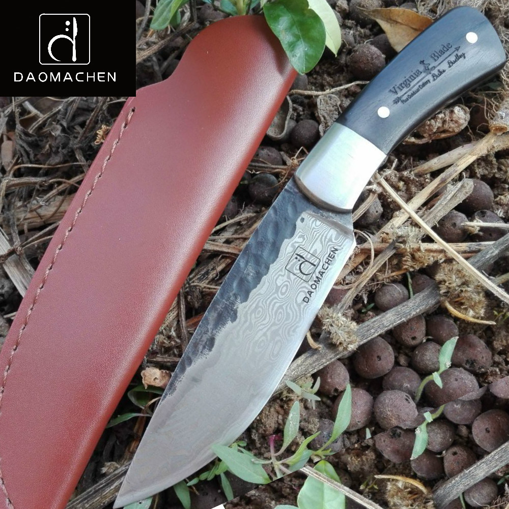 DAOMACHEN Hunting camping Knife Full Tang Knife Pure hand forged steel blade outdoor knife Fix blade knife farm hand forged spring steel sickle king chai sickle weeding knife grinding the blade free firewood
