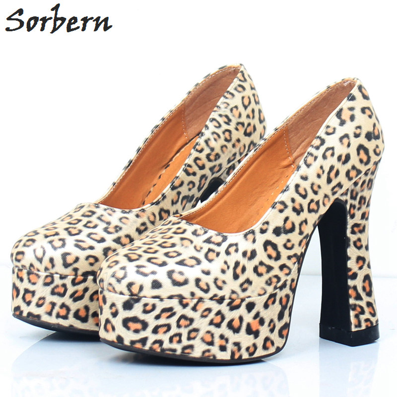 Sorbern Leopard Squre Chunky Heel Women Pumps Shoes Summer Style Ladies High Heel Comfortable Shoes Platform Shoes Heels Shoes 1b