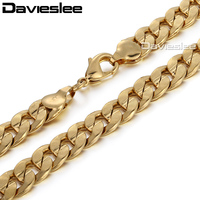 Yellow Gold Filled Mens Boys 9mm Curb Link Chain Necklace Fashion Bulk Sale Customized Jewelry Gift