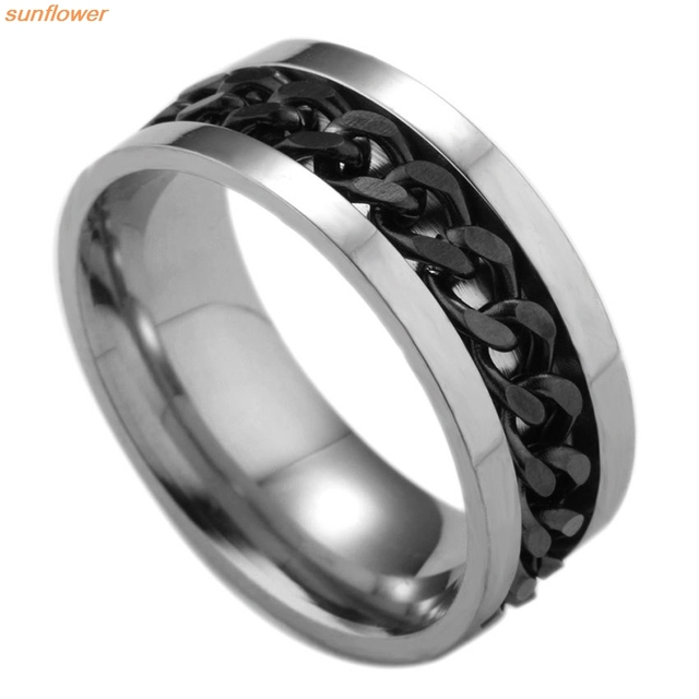 1 Piece Fashion Spinner Black Chain Ring For Men Punk Titanium Steel Metal Vnox