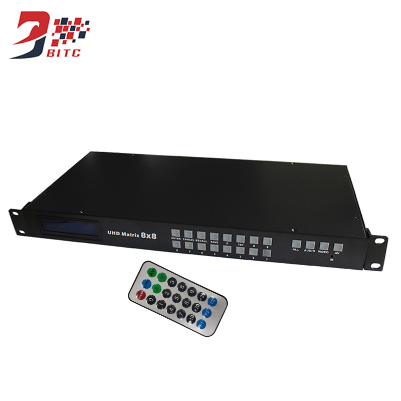 цена на SZBITC 4k2K HDMI Matrix 8x8 HDMI Switch 8 in 8 out Full HD 3D Video Display RS 232 RJ 45 Network Control With Remote Controller
