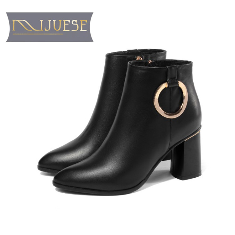 MLJUESE 2019 women ankle boots cow leather Metal decoration winter warm female boots high heel women  boots big size 34-42MLJUESE 2019 women ankle boots cow leather Metal decoration winter warm female boots high heel women  boots big size 34-42