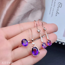 KJJEAXCMY boutique jewelry 925 sterling silver inlaid amethyst gemstone female ring pendant necklace earrings new luxury szjinao silver pendant for women real 925 sterling silver amethyst pendants necklace statement womens jewelry crystal gemstone