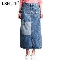LXMSTH Big Size Summer Womens Denim Skirt Long Patchwork A Line Skirt Women High Waist Ankle
