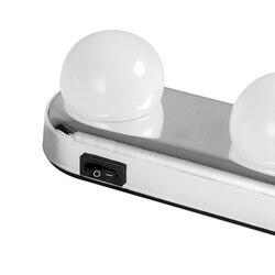 4 전구 할리우드 led 메이크업 거울 빛 흡입 컵 설치 드레싱 테이블 허영 라이트 욕실 벽 램프 배터리 전원