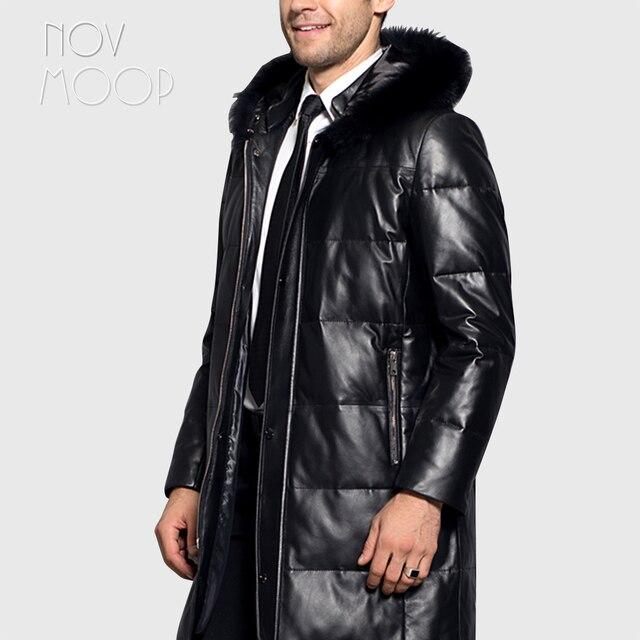 الرجال الشتاء الدافئة جلد طبيعي أسود أعلى درجة جلد الخراف الثعلب الفراء مقنعين بطة أسفل سترة معطف deri ceket jaqueta de couro LT2442