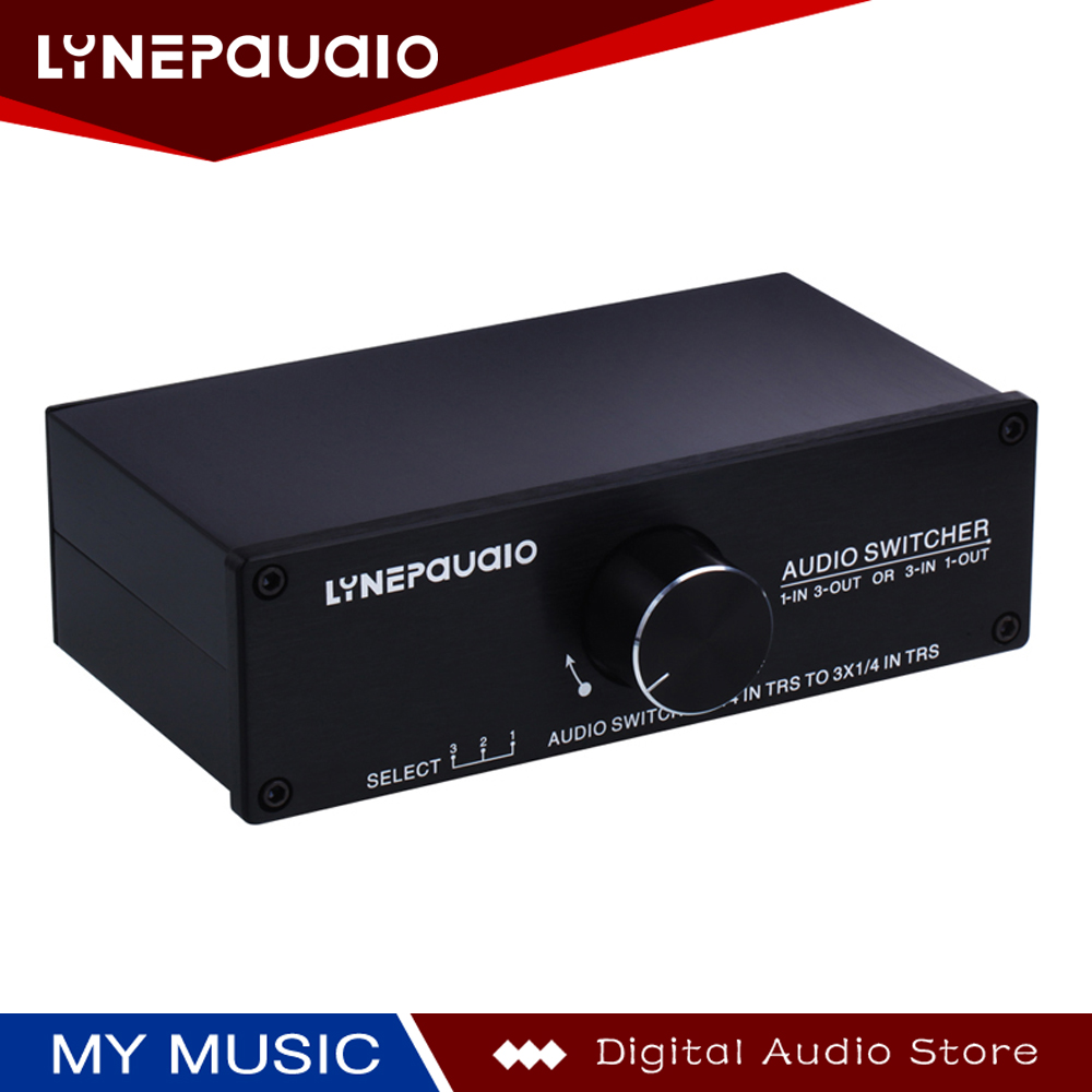 LINEPAUDIO 1/3-IN 3/1-OUT Audio Switcher Passive Preamp Stereo Speaker Distributor Selector