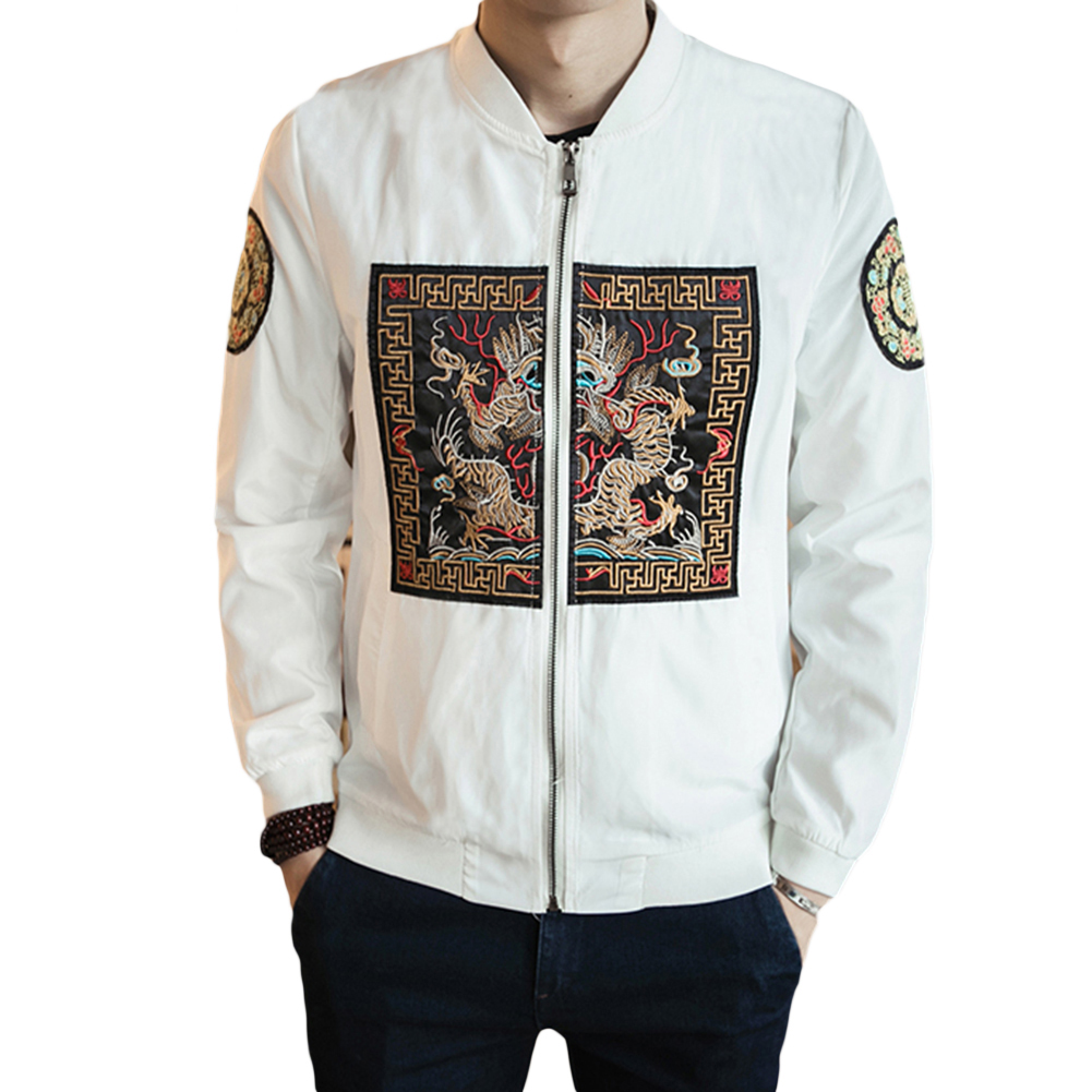 Autumn Baseball Bomber Jacket Men Fashion Chinese Imperial Robe Pattern Coat
